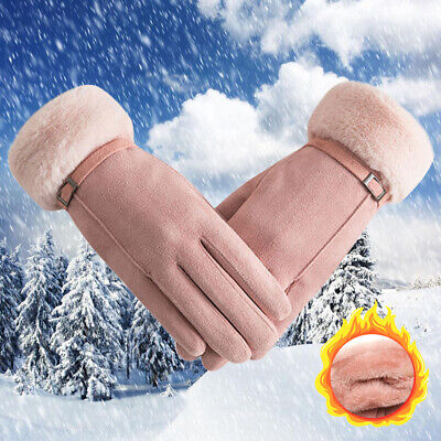 Candy Color Touch Screen Ski Driving Gloves Faux Fur Gloves Cashmere Mittens