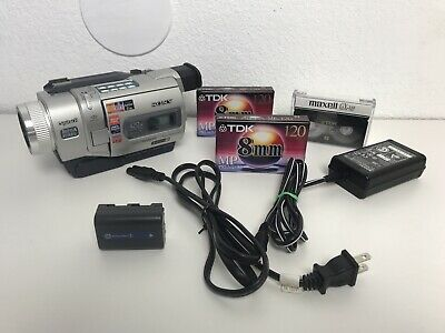 Vintage Sony Handycam DCR-TRV840 Camcorder With Adapter & 3 New 8mm Tapes WORKS!