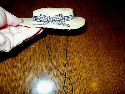 Pleasant Company American Girl Kirsten Straw Hat with Black Gingham Band