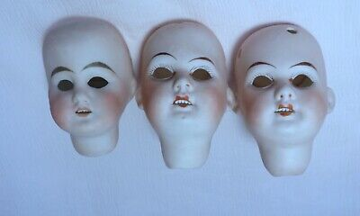 LOT of 3 ALL BISQUE GERMAN PORCELAIN DOLL*HEADS*GERMANY  MIGNONETTE DOLLS