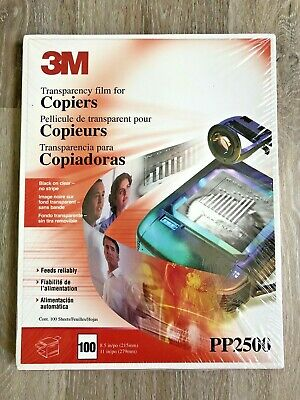 3M PP2500 Transparency film  for copiers box 100 sheets 8.5 x 11  factory sealed