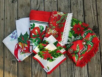 Vintage LOT/8 CHRISTMAS TABLE CLOTHS Round/Square/Rectangle-Some NEW Fringe/Vera