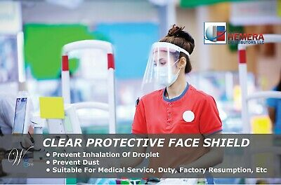 Safety Face Shield Reusable Washable Clear Anti-Splash Anti-fog Pack of 2