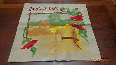 Vintage hand embroidered pillow shell cover Harvest Days Farm Scene Cotton LQQK