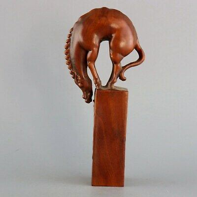 Collectable Old Boxwood Hand-Carved Lovely Horse Statue Moral Auspicious Seal