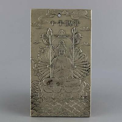 Collectable China Tibet Silver Carve Thousand Hand KWAN-YIN Auspicious Pendant