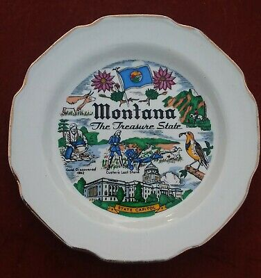 """Vintage Montana Big Sky Country State Collectible Souvenir Plate 6"""" Wide Gold"""