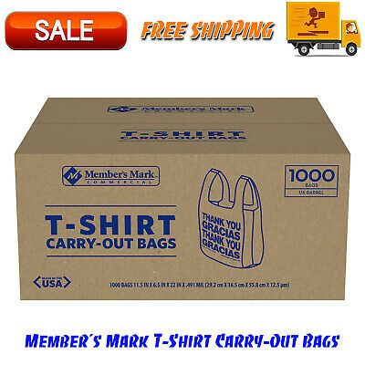 """Member's Mark T-Shirt Carry-Out Bags 1000 ct. """"Thank You"""" Message & Easy-to-tote"""