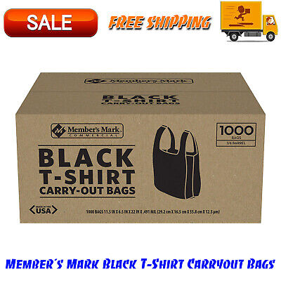 Member's Mark Black T-Shirt Carryout Bags 1000 ct. Durable Design & Easy-to-tote