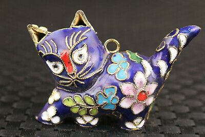 Rare chinese old blue cloisonne hand carved blue cat statue netsuke collectable
