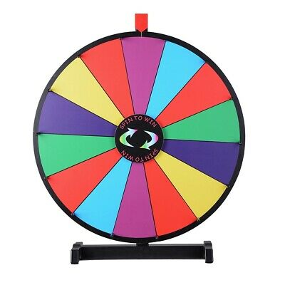 "24"" Upgraded Editable Color Prize Wheel Fortune Spinning Game Tabletop"