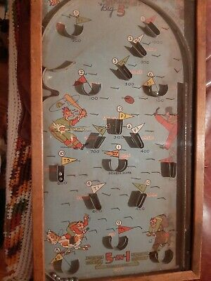 POOSH M UP BIG 5 Table Top Pinball Game ANTIQUE PATD  1925.
