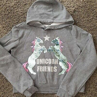 Girls Unicorn Cropped Hoodie Age 14