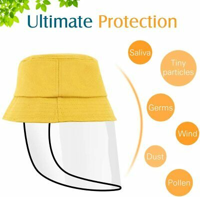 Anti Saliva Fog UV Hat for Kids w/ Protective Face Shield Cover Outdoor Sun Hat