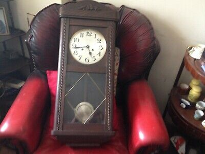 antique wooden wall clock,pendulum,key,2 train