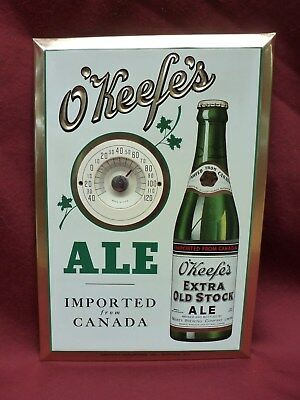 Vintage O'Keefe Extra Old Stock Ale Thermometer Embossed Tin Sign
