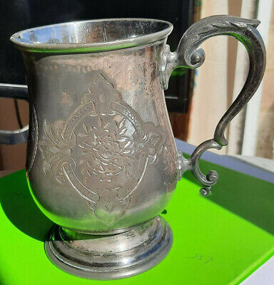 Antique EPBM Pewter Tankard Pint Pot James Dixon Beer Cider 1872 breweriana