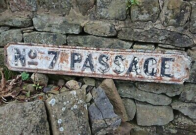 Antique Vintage Old Cast Iron Street Road Sign Architectural Number No 7 Passage