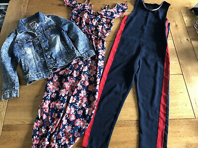 Used Bundle Of Girl's Jumpsuits And Denim Jacket Age 9-10 Years