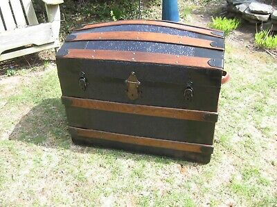 Antique Stagecoach Steamer Trunk 1800s Dome Top Dark Blue Paint Blanket Chest