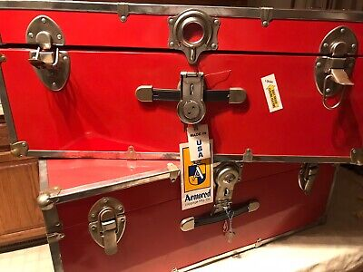 Vtg Red Steamer Trunk Luggage Footlocker Storage Container Box NWT Armored Co.