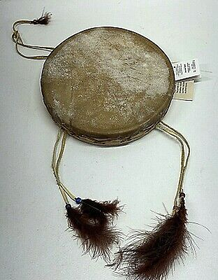 """Native American Drum Rawhide & Wood Canadian Govt Certified 9"""" Diameter With Tag"""
