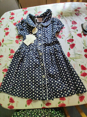 Rachel Riley BNWT Baby Girl Dress Navy with White Hearts Pattern age 3 years