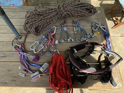 Full  Rock Climbing Rack, Including Harness, Nuts, 40m Rope, Belay, Etc.