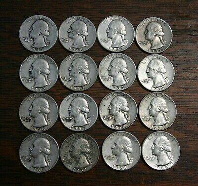16 Silver Washington Quarters 1944 - 1964 different dates Nice Grades! (Lot F)