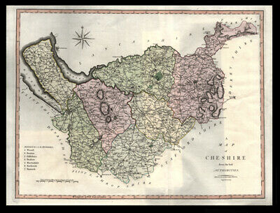 1805 John Cary Copper Plate Engraving Hand-Colored Map of Cheshire England