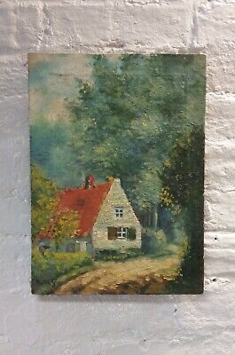 Petite French Oil On Canvas Painting Of Cottage