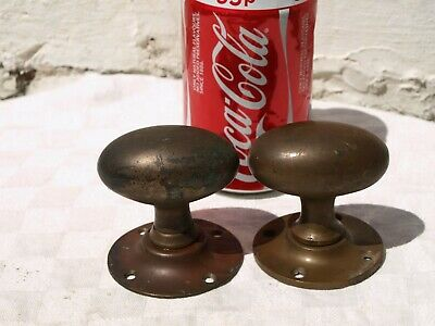 2x ODD ANTIQUE ?? RECLAIMED SOLID BRONZE or BRASS GOOSE EGG DOOR KNOB HANDLES
