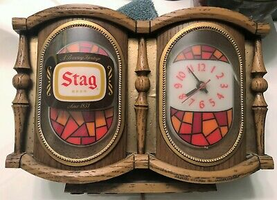 Vintage STAG BEER Advertising Cash Register Bar Clock Works, size: 8x11 inches,