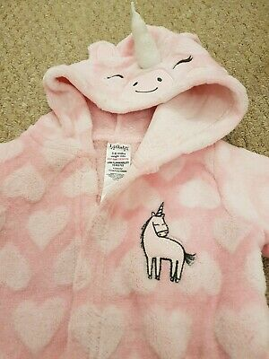 Pink Unicorn Dressing Gown/robe, 3-6 Months,