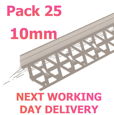 10mm PVC White Angle Render Bead 2.5m Rendering ~ Pack 25 NEXT WORKING DAY