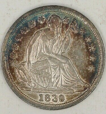 1839-P Seated Liberty Half Dime. Extremely Choice AU, PQ Toned. RAW1981/BAQ