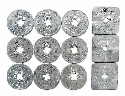 Lot of 12 Colorado Tax Tokens - 1/5 Cent Square (3), 2 Cent Round (9) #152812