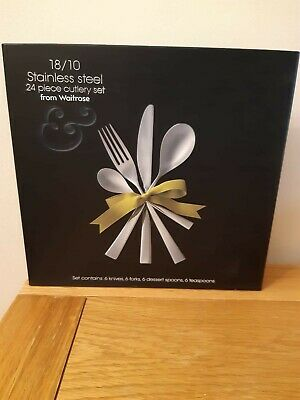 24 Piece John Lewis Waitrose 18/10 Stainless Steel Cutlery NEW Set RRP £60 gift
