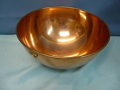 "VTG/Antique French Chocolate Mixing Bowl 10"" Copper w/ Brass Ring"