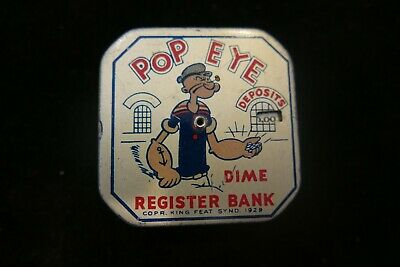 Antique Tin Popeye Dime Automatic Register Bank King Feat Synd 1929
