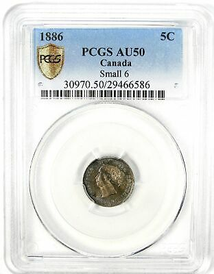 1886 Canada 5c Nickel PCGS AU 50 Small 6 #135036