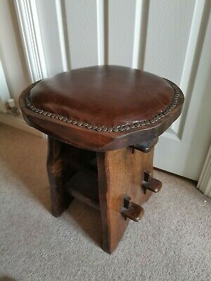 Lovely Vintage / Rustic Heavy Wood and Leather Stool Chestnut Leather Seat Pad