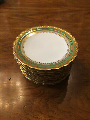 "Vintage Blakeman & Henderson Limoges 7"" Salad Plate - Green and Gold - Set of 12"
