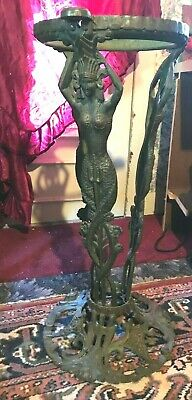VINTAGE The BOOTH COMPANY CAST IRON MERMAID BOWL STAND EGYPTIAN ART DECO RARE!