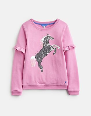 Joules Girls Tiana Frill Sleeve Sweatshirt  - LIGHT PINK Size 11yr-12yr
