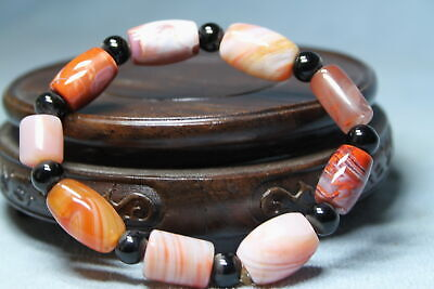 Collectable Exquisite Agate Carved Brown Beads Auspicious Beautiful Bracelet