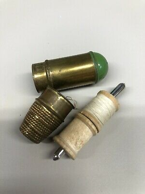 vintage travel sewing kit Brass Made In Germany Bullet Shape Thimble Spool Case