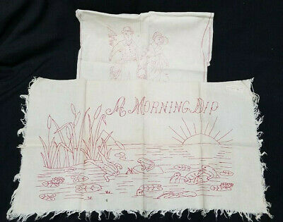 Antique Redwork Tapestry / Towel 'Morning Dip' & Water From The Well