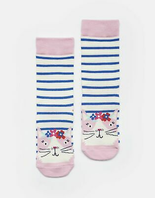 Joules Girls Neat Feet Character Socks - BLUE STRIPE CAT Size Size 9-12