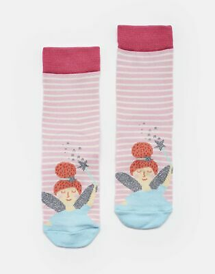 Joules Girls Neat Feet Character Socks - PINK STRIPE FAIRY Size Size 9-12